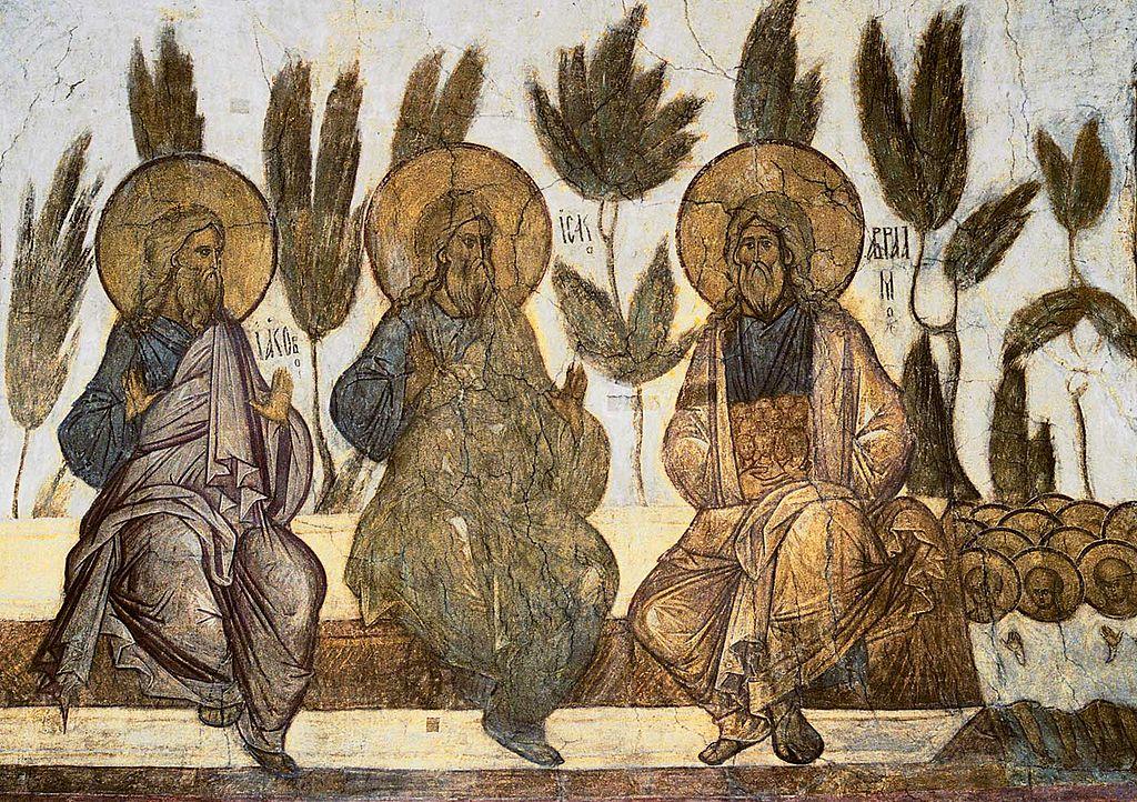 praotcy-avraam-isaak-i-iakov-v-rayu-lono-avraamovo-freska-uspenskogo-sobora-vo-vladimire-1408-g
