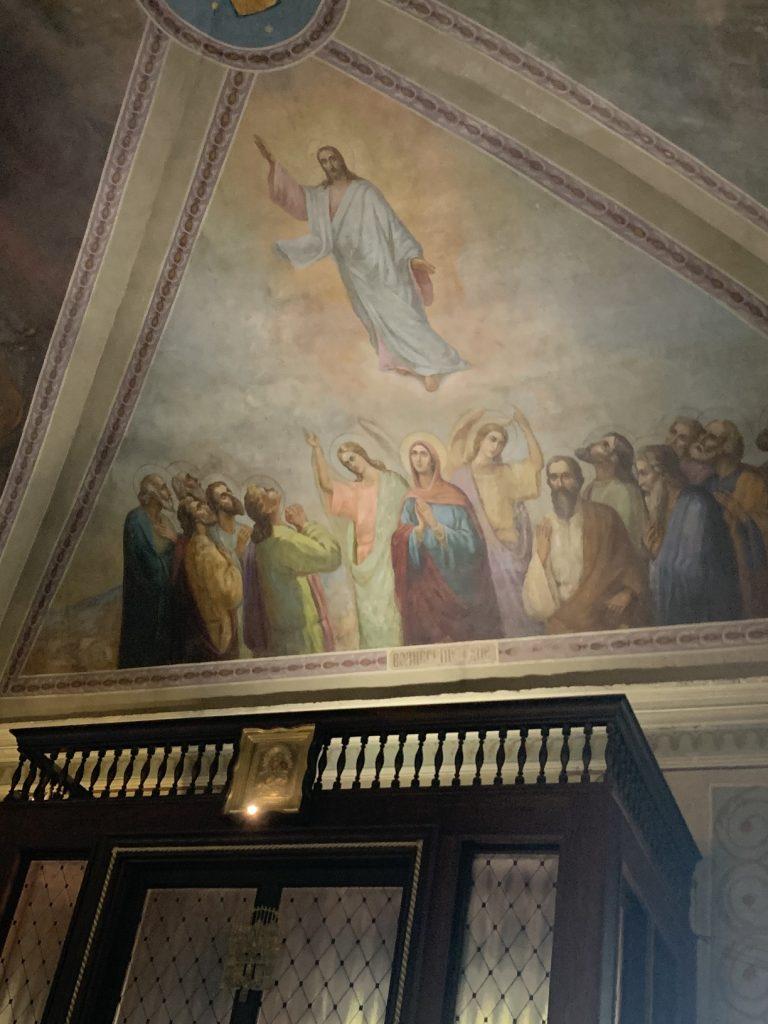 """Фреска Вознесение Господне в храме иконы Божией Матери """"Нечаянная Радость"""" в Марьиной Роще"""
